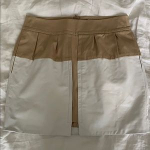 Cotton & leather high waisted mini skirt